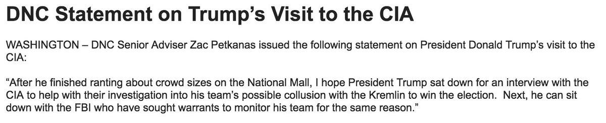 Wow, this DNC statement about Trump's CIA visit https://t.co/KI3llx4MHg