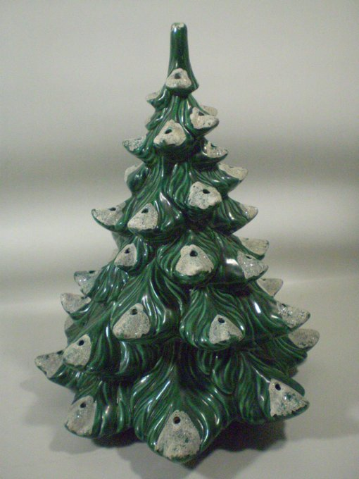Atlantic Mold Ceramic Chirstmas Holiday Tree Flocked White Tips 13.5""