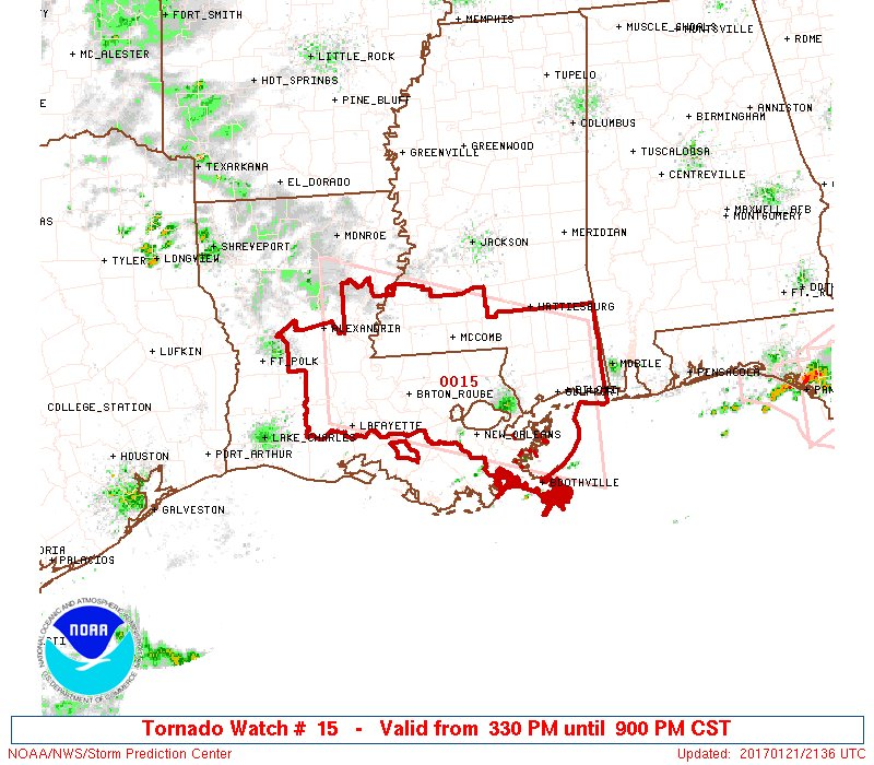 Another #Tornado Watch just posted for south #Louisiana #Mississippi a...