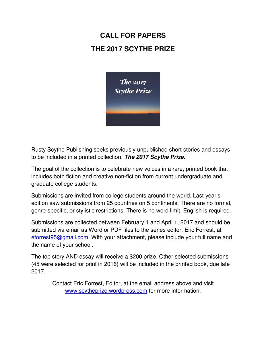 rusty scythe rusty scythe twitter i found a keeper for the 2017 scythe prize don t you miss out on being published winning prize money