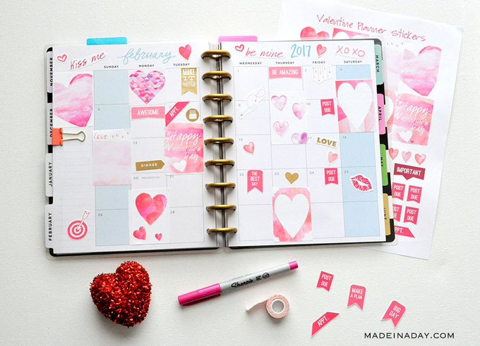 February Watercolor Valentine FREE Printable Planner Sticker