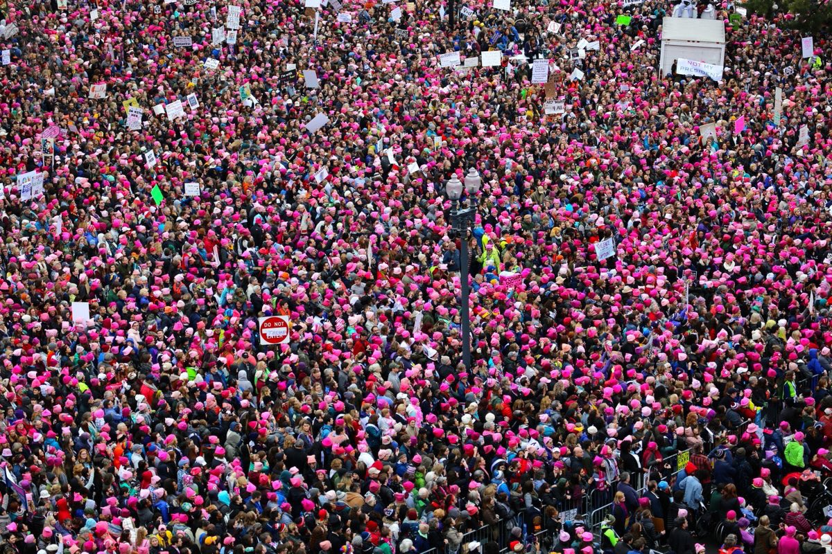 Hey, remember that woman who said pink hats weren't serious enough? THEY LOOK PRETTY SERIOUS TO ME. #WomensMarch https://t.co/Cm1rh4sMyt