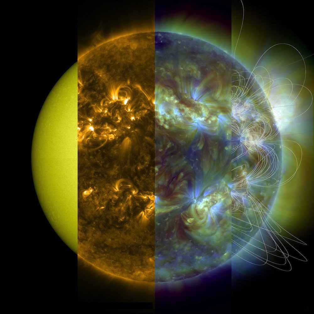 Our Sun in decreasing wavelengths from left to right.