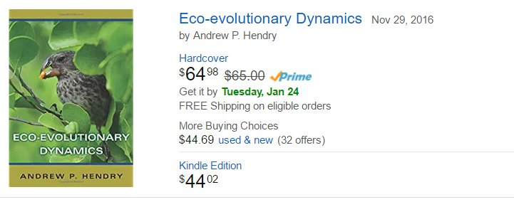Ohhhhhh. Act now. Huge Amazon Prime discount on my Eco-Evolutionary Dynamics book. Perhaps they were #PeopleWhoFellAsleepReadingMyBook https://t.co/r0r337LQmc