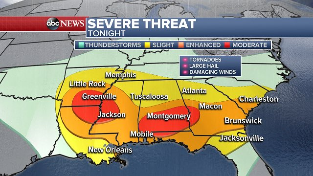 Serious threat ongoing in the southeast for tornadoes and damaging win...