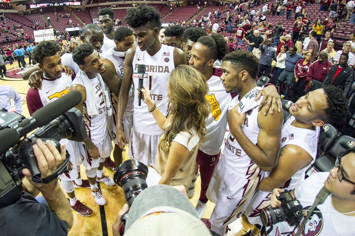 Loved this moment post game. Interviewing @fsuhoops Jonathan Isaac w/his team surrounding him. https://t.co/EKn7Mea6nT