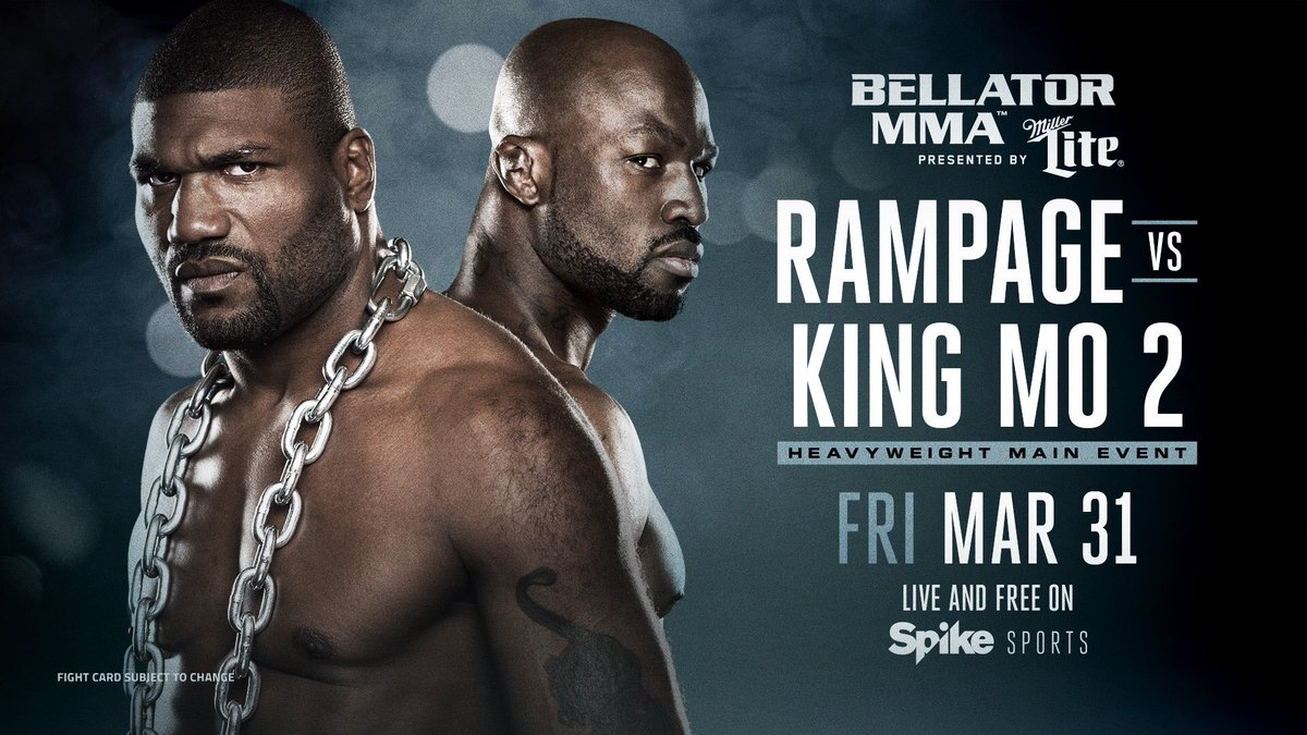 The Rematch! @Rampage4real vs @KingMoFH!!   #Bellator175 👉 March 31st live & Free on @Spike https://t.co/MRhJWyPWwP