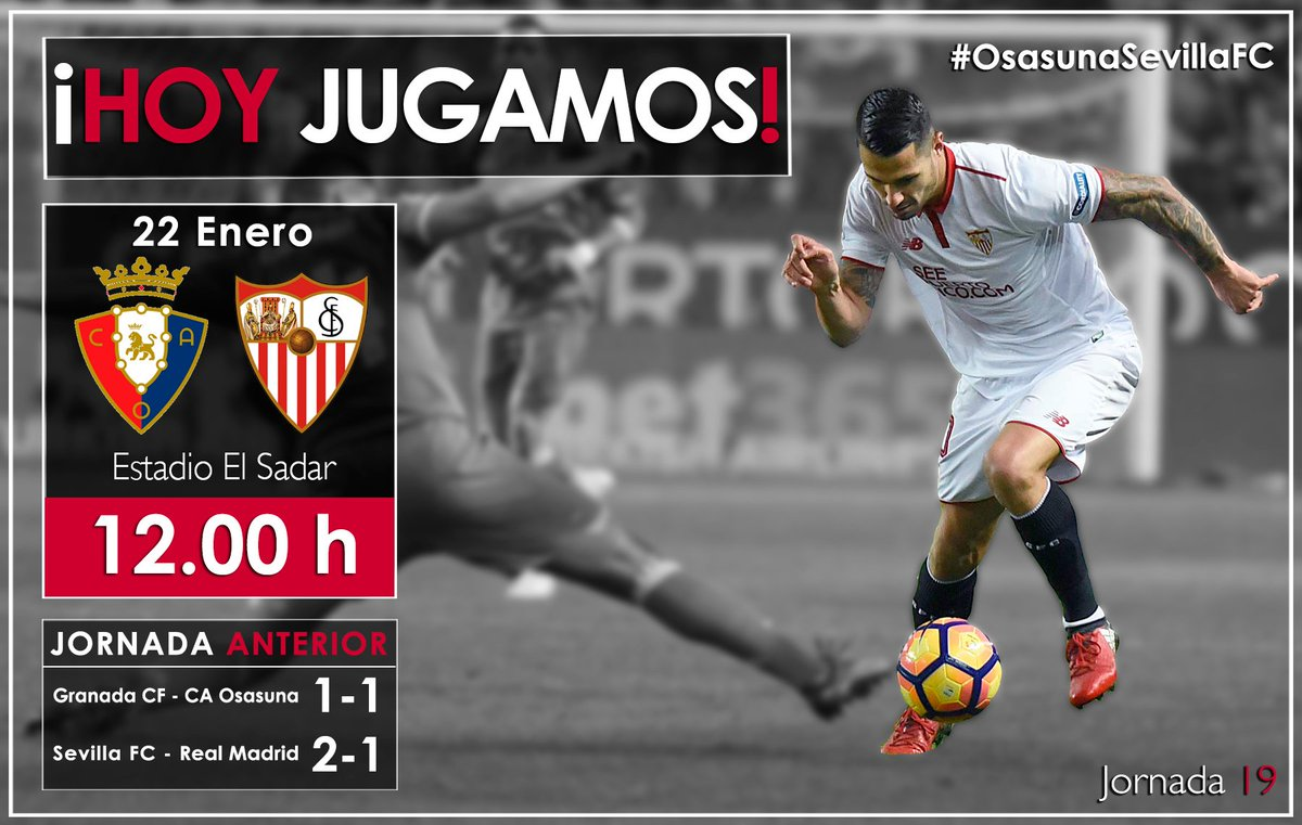 ¡Hoy jugamos!  ⚽ @CAOsasuna- #SevillaFC 🕥 12.00h  📍 Estadio El Sadar...