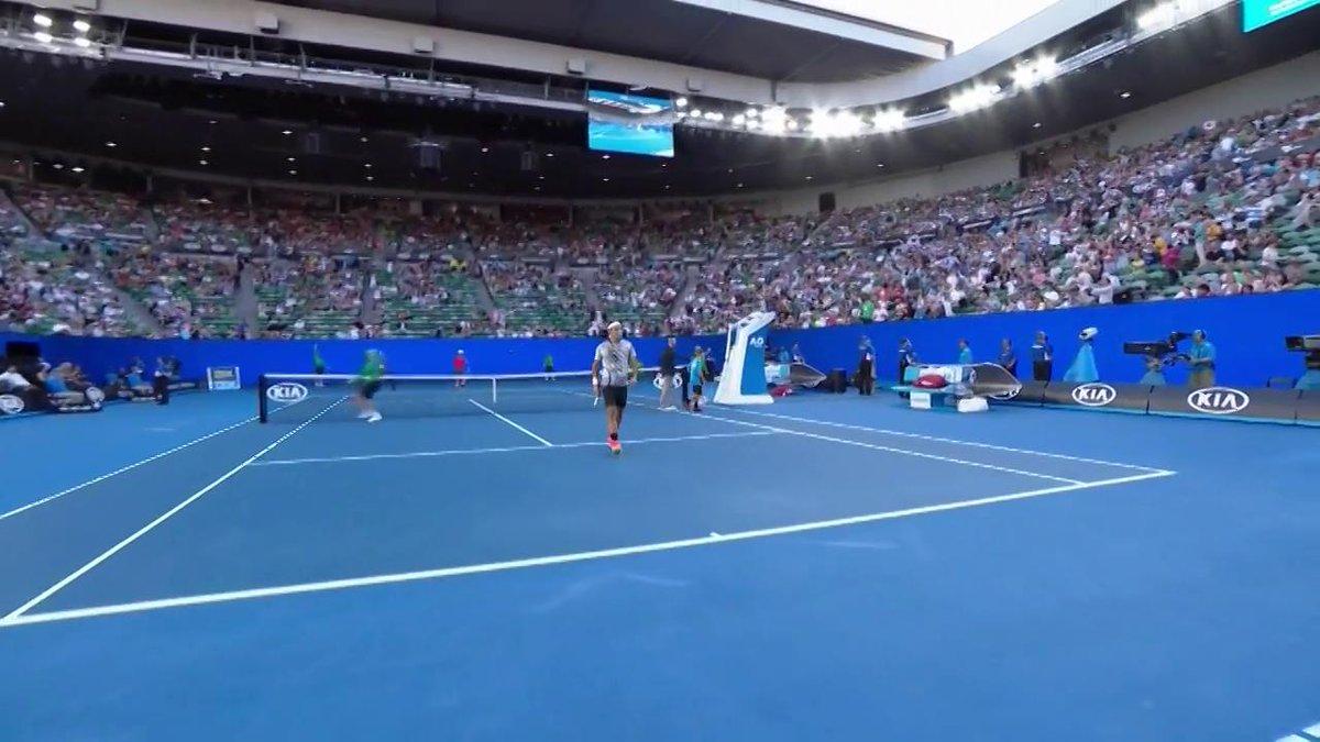 Roger's ready... #Federer and @keinishikori on RLA now! #AusOpen https...