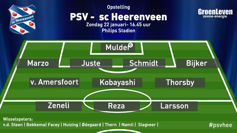 We beginnen vanmiddag met de volgende 11 spelers aan de klus tegen PSV...
