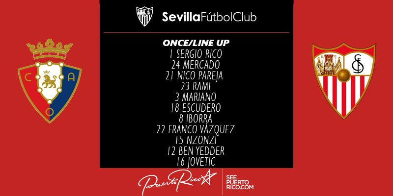 ONCE del #SevillaFC ante el @CAOsasuna    #OsasunaSevillaFC #vamosmise...