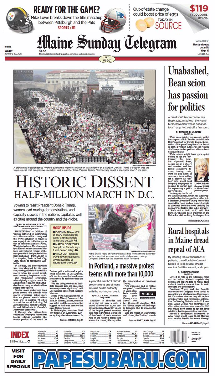 Today's Maine Sunday Telegram front page, Sunday, January 22, 2017 https://t.co/rg8lk3tun6