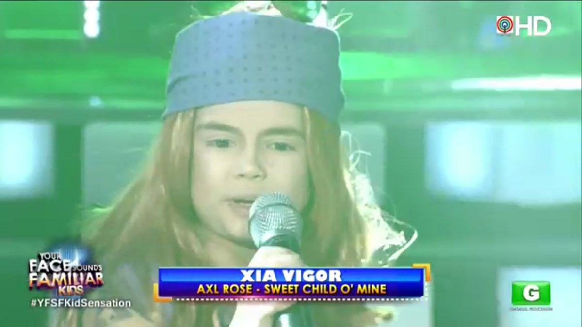 Xia as Axl Rose!  Watch #YFSFKidSensation live via ABS-CBN HD sa iWant...
