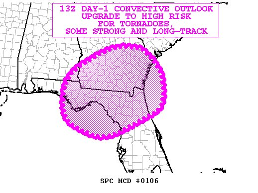 Upgrade to high risk coming for the area in pink below! Tornadoes coul...