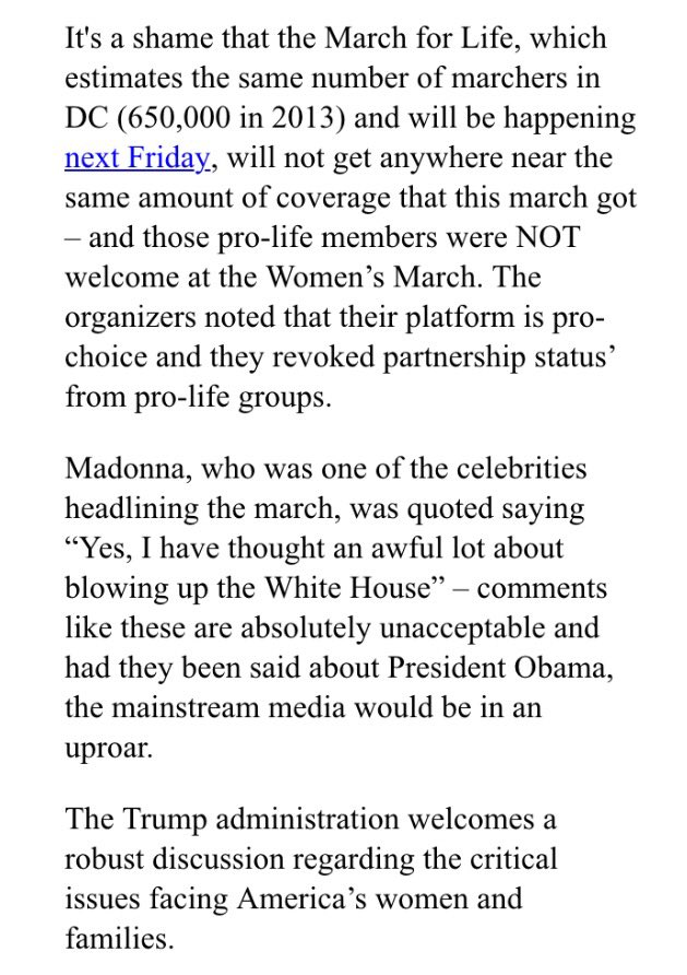 JUST IN: The White House releases statement on #WomensMarch #WomensMarchOnWashington https://t.co/DYO5EzC9Pt