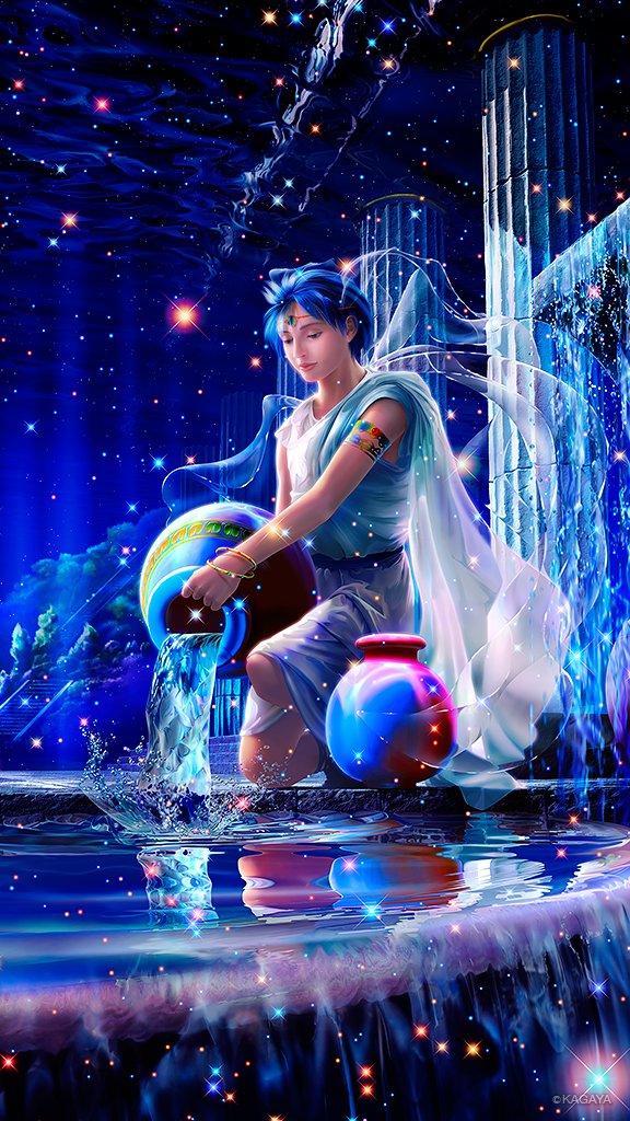 アクエリアス(水瓶座) 地上人のガニメデは 神の心を動かすほどに美しく 天空に迎えられた 神酒(ネク…
