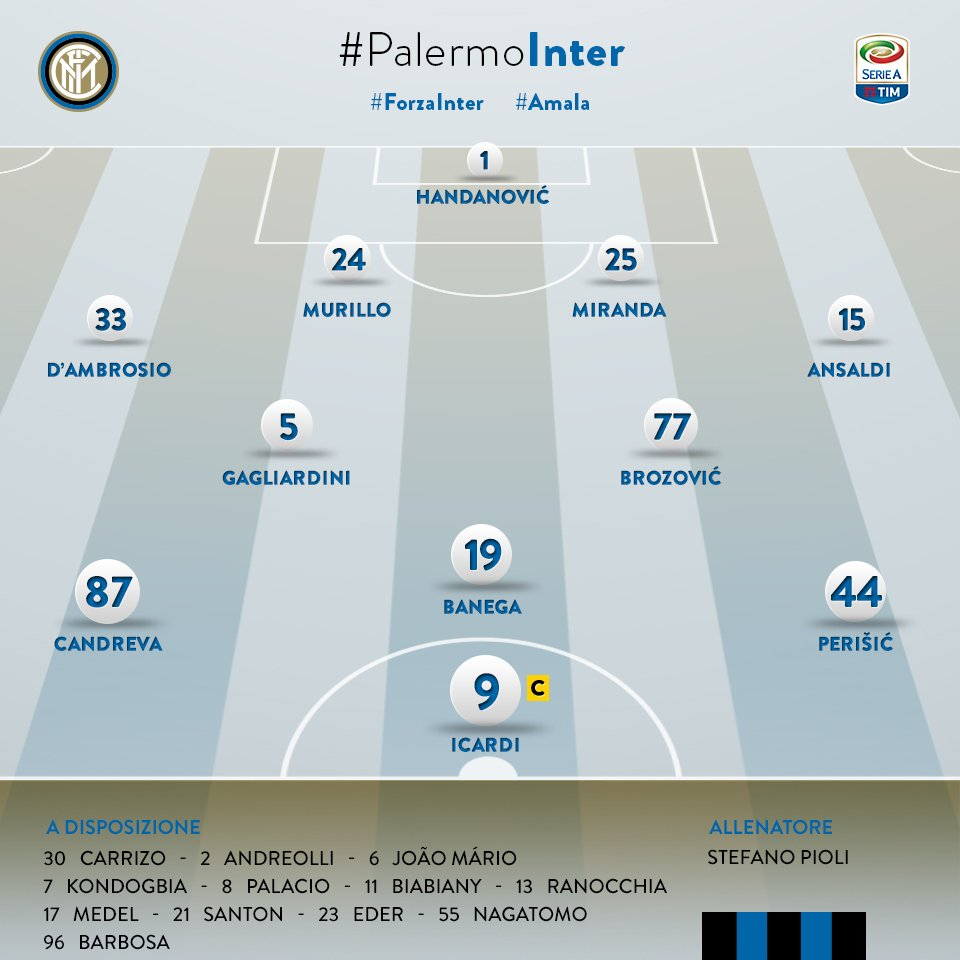 Here's our team for #PalermoInter #ForzaInter ⚫️🔵 https://t.co/XAkZwRO...