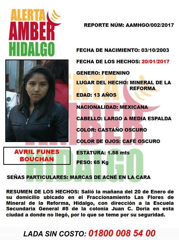 #AlertaAmber #Hidalgo AVRIL FUNES BOUCHAN  http://www. marfeca.mx/?p=5597  &nbsp;   #Compartir #Difundir #SeBusca #Hgo<br>http://pic.twitter.com/qHMqwCZIyu