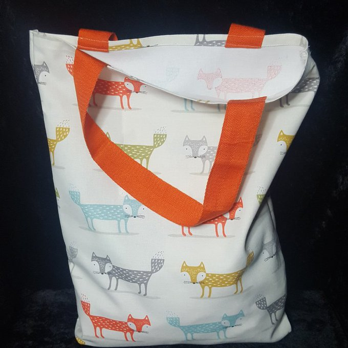 Cotton Fox Print Shopping Tote Bag