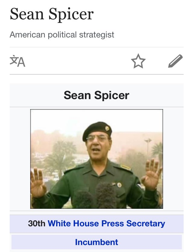 Someone changed Spicer\'s Wikipedia photo to Baghdad Bob