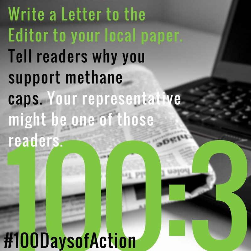 #100DaysofAction:3 Write an LTE. #Methane is 30x more potent than CO2. We can #cutmethane by capping leaks. https://t.co/Dp772aUbF9 https://t.co/YPdZADlbC1