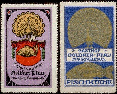 #Gasthof #Goldener #Pfau In #Nürnberg #Fischküche #peacock #Reklamemarken  (1900 1920) Pic.twitter.com/m2nDasNlHW