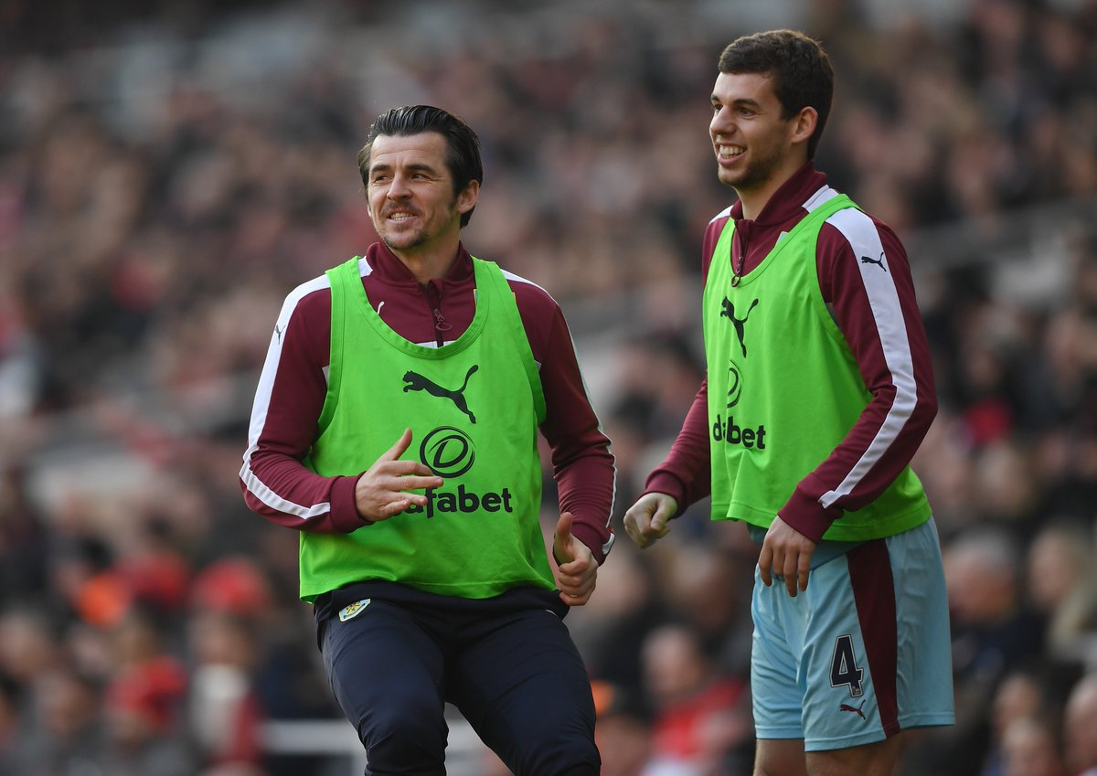 Joey Barton and Jon Flanagan in good spirits as they warm up for Burnl...