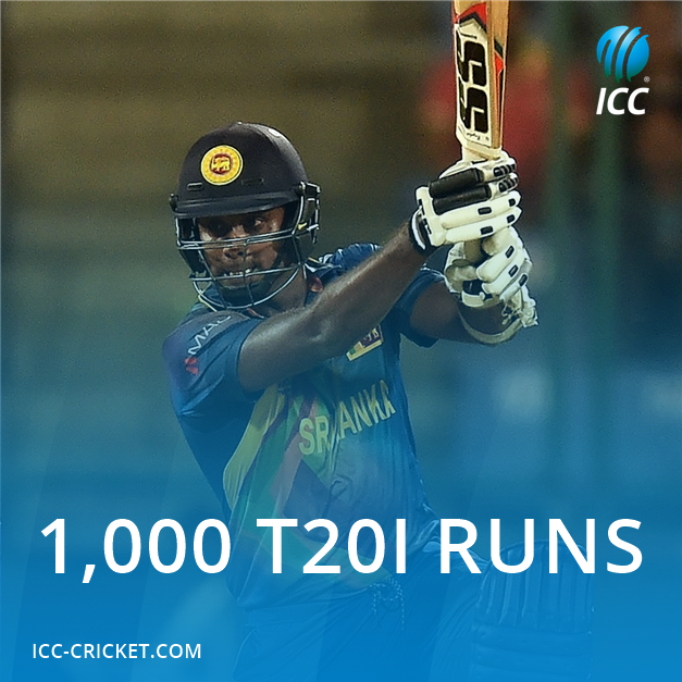 Congratulations to Angelo Mathews on reaching 1,000 T20I runs! #SAvSL...