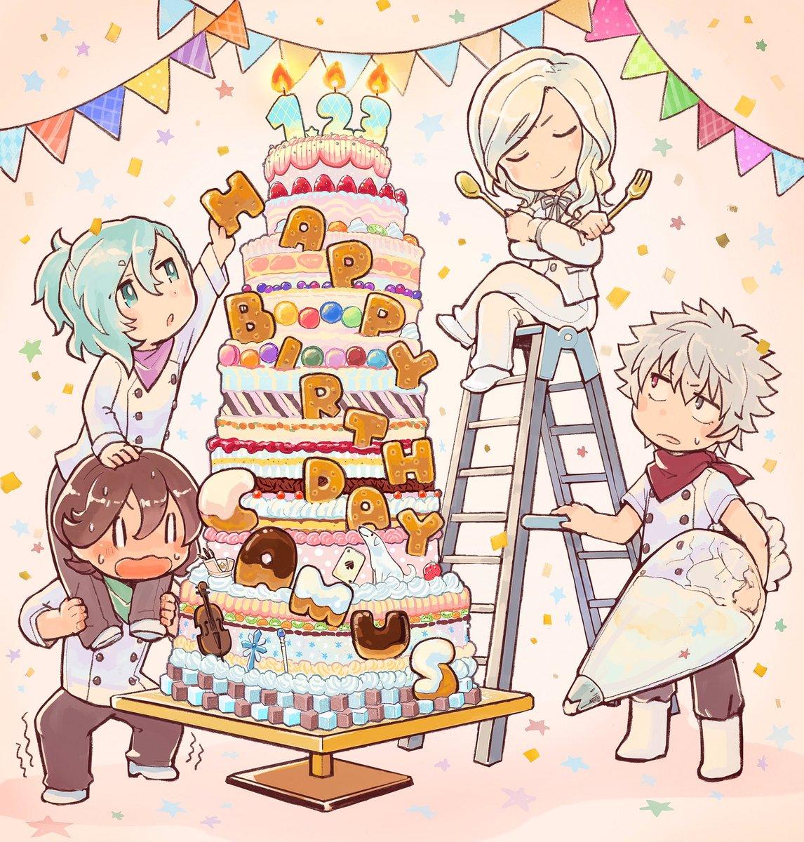 カミュお誕生日おめでとうございます!素敵な一年になりますように カルナイの手作りケーキでお祝い! #…