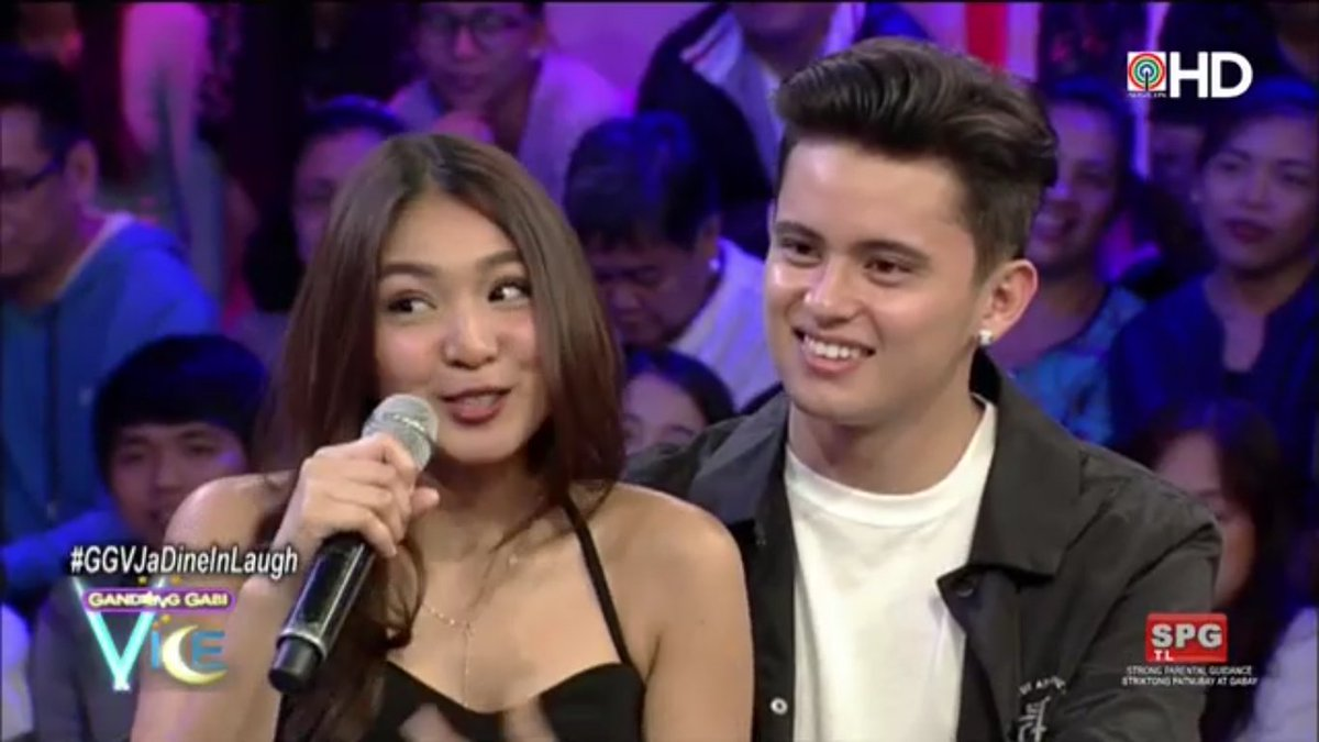 Nadine: Bakit in love ka ba? James: Oo.  #GGVJaDineInLaugh via ABS-CBN...