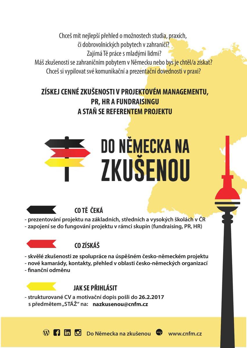 Česko-německý projekt Do Německa na zkušenou nabízí #stáž - #projektovýmanagement, #PR, #fundraising, prezentační dovednosti, #teamwork https://t.co/UkxSXB407H