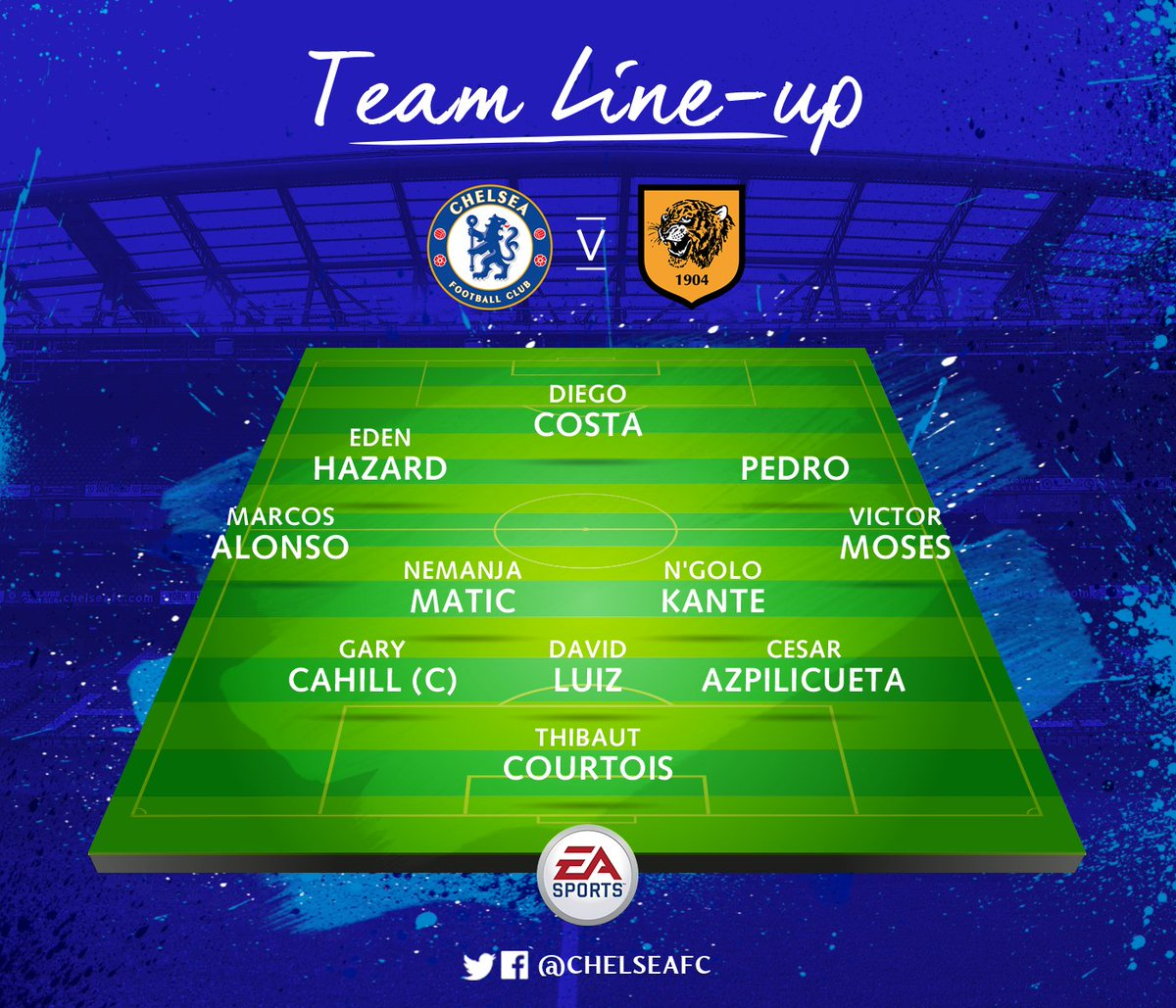 Here's a reminder of today's line-up. #CHEHUL  COME ON CHELSEA! 💪 http...