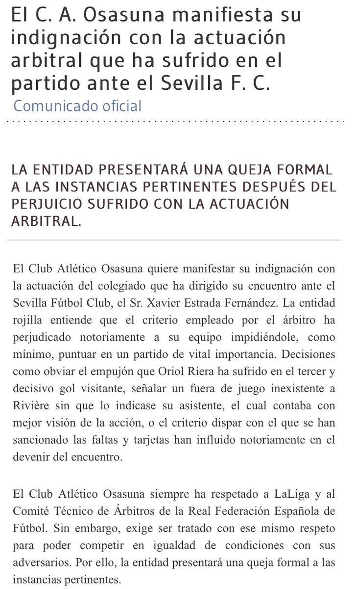 Osasuna MANIFIESTA su INDIGNACIÓN con la actuación arbitral tras la de...