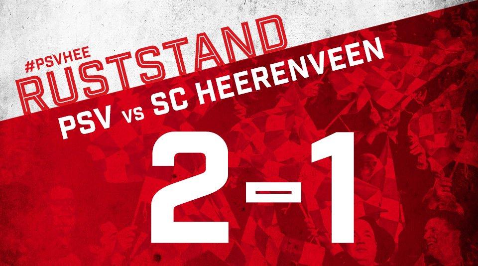 RUSTSTAND #psvhee  0-1 Reza (5) 1-1 Pröpper (32) 2-1 Pereiro (40) http...