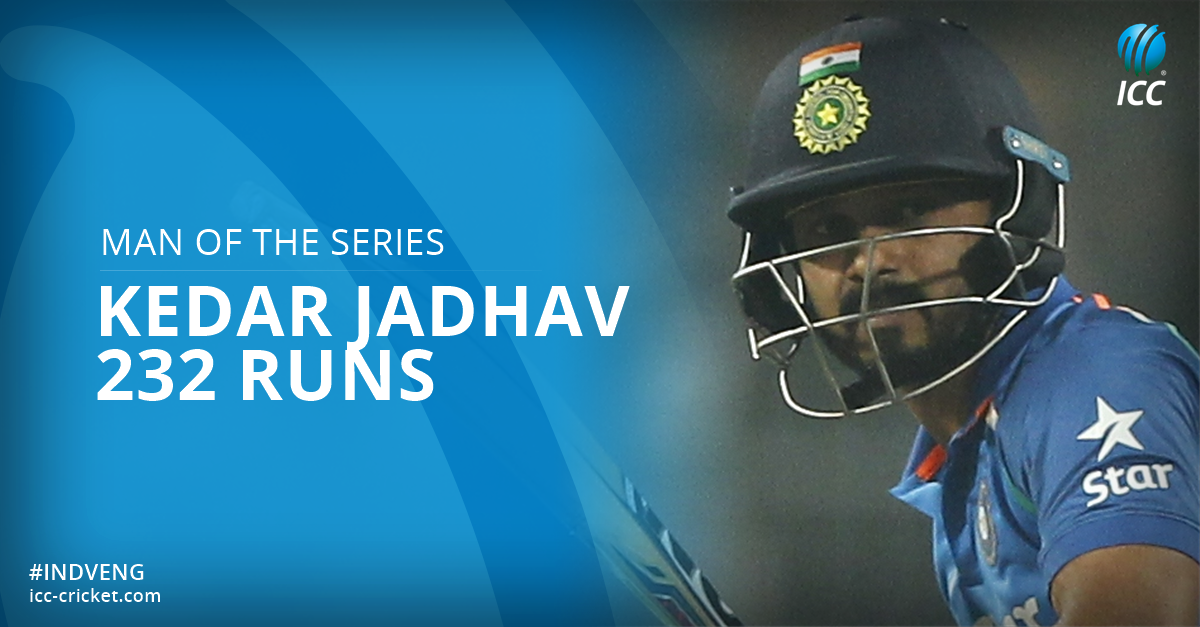 He's had a fine series with a century in the first match and 90 tonight - Kedar Jadhav is Man of the Series!