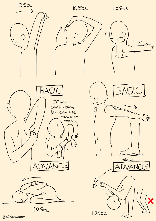 I've started doing yoga for 8 months. My backache is gone. So I recommend some easy poses for artists/everyone who gets backache