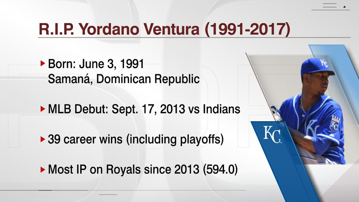 Yordano Ventura died in a car crash on Sunday morning. He was 25. http...