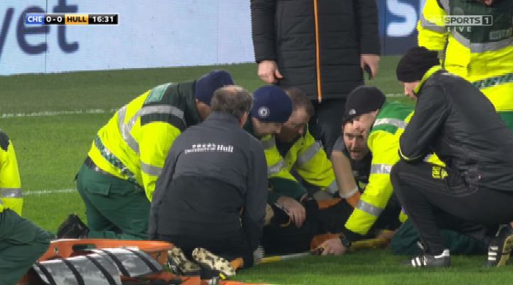 Ryan Mason carried off in neck brace after sickening head clash https:...