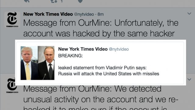 Hacked #NYT #Twitter ac. warns of imminent #Russia|n missile attack.  http:// thehill.com/policy/cyberse curity/315531-nyt-video-twitter-hacked-announced-imminent-russian-missile-attack &nbsp; …  #CyberAttack #Hack #SocialMedia #CyberSecurity<br>http://pic.twitter.com/bYYU3sGbtk