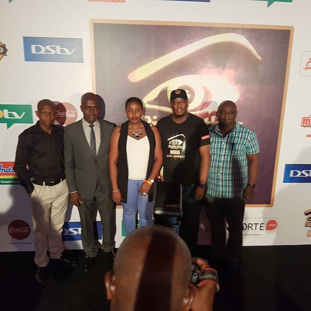 Live at the #BBNaija live screening from L-R: #BBNaija sponsor reps Ot...
