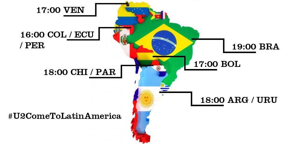 Estos son los horarios para que mañana iniciemos la campaña #U2ComeToLatinAmerica https://t.co/VCk45rCffa