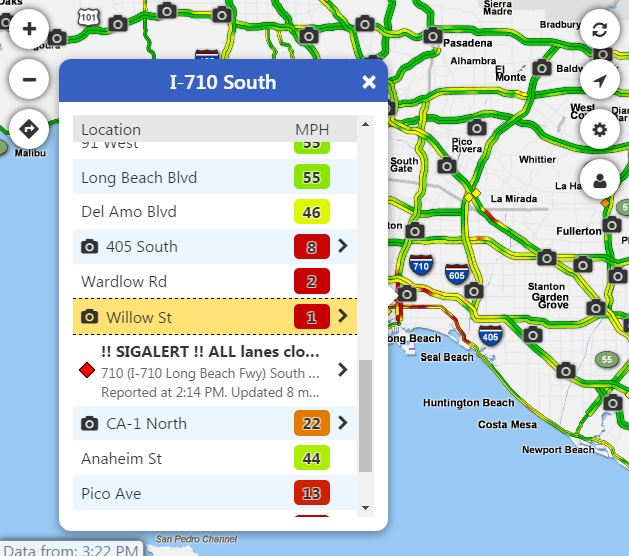Knx 1070 Traffic Map.Traffic Alert All Lanes Of I 710 At Pch In Long Beach Closed Due To