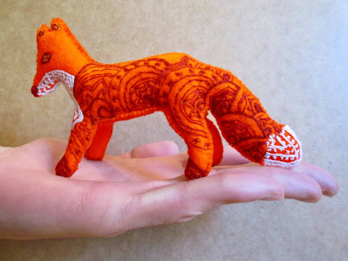 Felt Fox Art Animal Ornament, Unique Gifts
