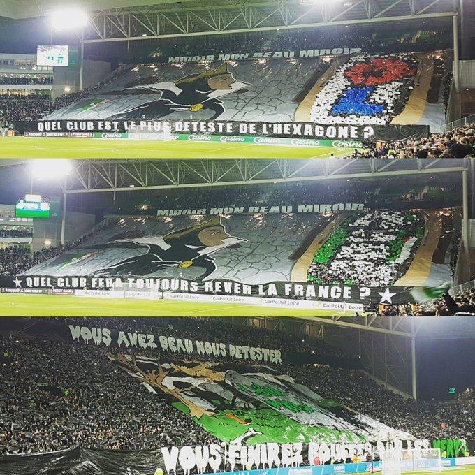 Les Tifos de l'ASSE contre Lyon