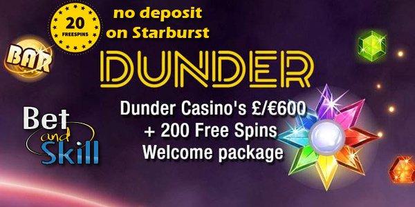 DUNDER Casino No Deposit Free Spins