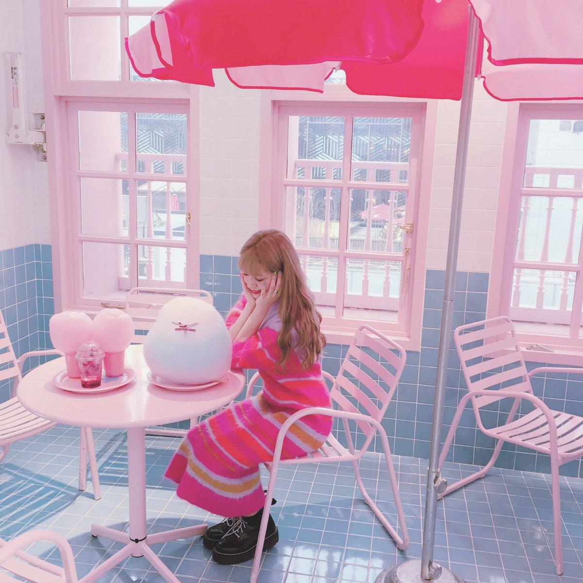 韓国日記🇰🇷💕  STYLENANDA PINK HOTELにある PINK POOL CAFEで綿…