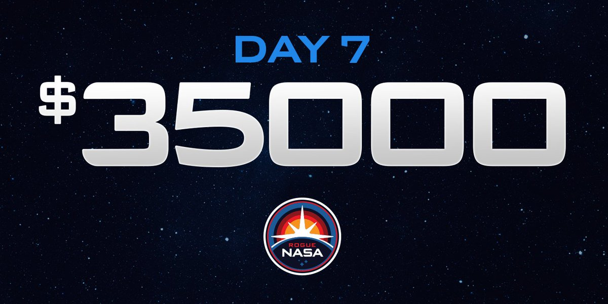 DAY 7: We've raised over $35,000 for science programs through sales of @RogueNASA patches, pins and shirts. #resist https://t.co/HE4MJc9AQ6