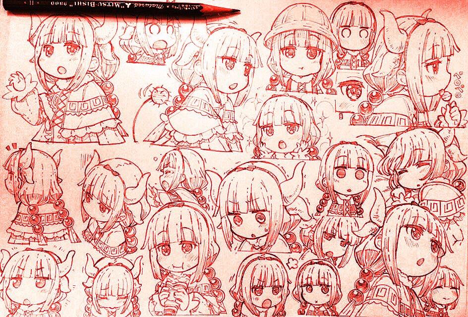 小林さんちのメイドラゴン。増えるカンナちゃん表情集でA4の紙一枚埋まった。