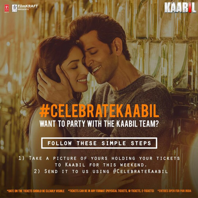 We would love to #CelebrateKaabil with you guys. Watch Kaabil this weekend & send a picture holding your ticket & use the hashtag. https://t.co/jeF1szaNwY