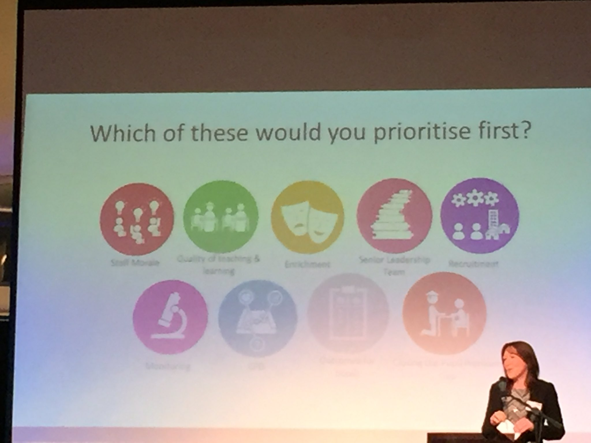 Good start to the morning at #Teach2017. Starting Q from Lorraine Clarke - Which would you prioritise first when moving a school out of SM? https://t.co/JtSjpyl1uH